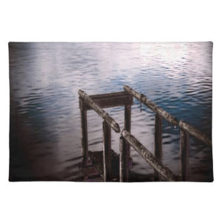 Old Wooden Dock Over Water with Mist Cloth Placemat