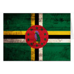 Old Wooden Dominica Flag Greeting Cards