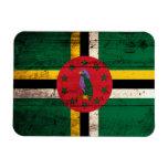 Old Wooden Dominica Flag Vinyl Magnets