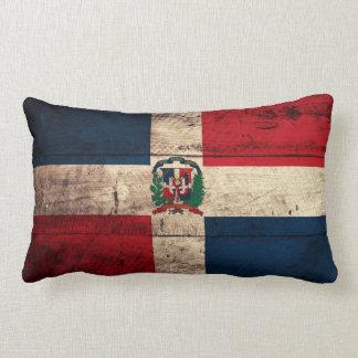 Old Wooden Dominican Republic Flag Lumbar Pillow