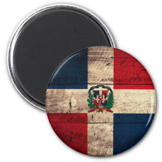 Old Wooden Dominican Republic Flag Refrigerator Magnet