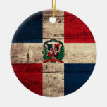 Old Wooden Dominican Republic Flag Christmas Tree Ornament