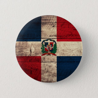 Old Wooden Dominican Republic Flag Pinback Button