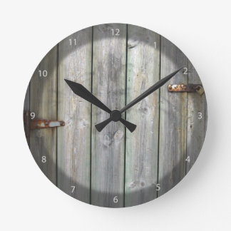Old Wooden Door In A Stone Wall Round Clock