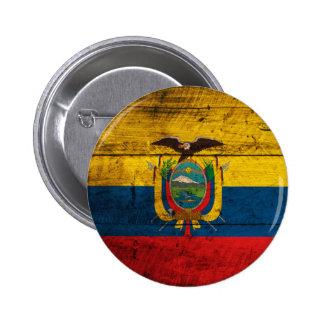 Old Wooden Ecuador Flag Button