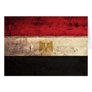 Old Wooden Egypt Flag Card