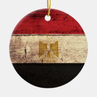 Old Wooden Egypt Flag Ornament