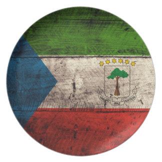 Old Wooden Equatorial Guinea Flag Melamine Plate