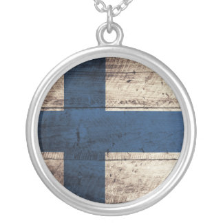 Old Wooden Finland Flag Silver Plated Necklace