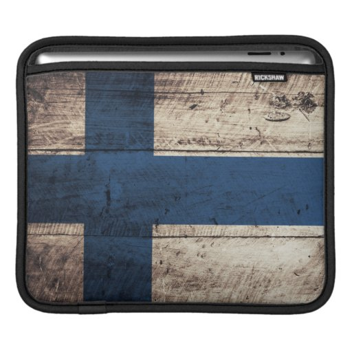 Old Wooden Finland Flag Sleeve For iPads