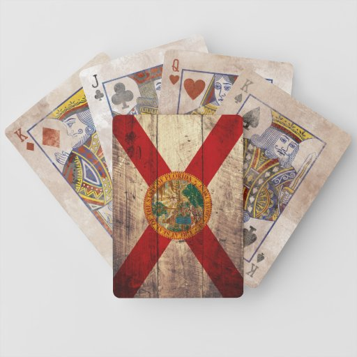 Old Wooden Florida Flag Playing Cards