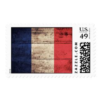 Old Wooden France Flag Postage Stamps