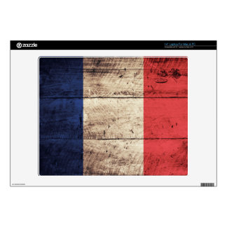 "Old Wooden France Flag; Decal For 14"" Laptop"
