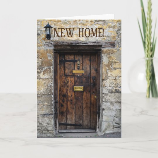 Old Wooden Front Door With Light New Home Card