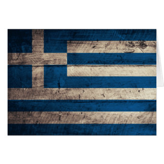 Old Wooden Greece Flag Card