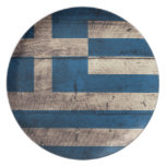 Old Wooden Greece Flag Party Plate