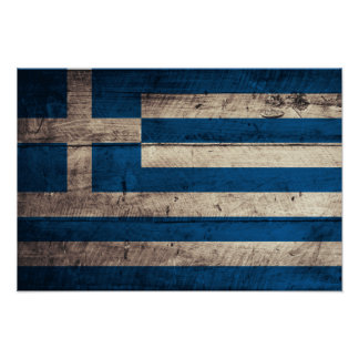 Old Wooden Greece Flag Posters