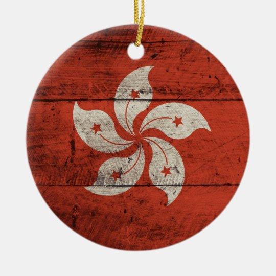 Old Wooden Hong Kong Flag Ceramic Ornament