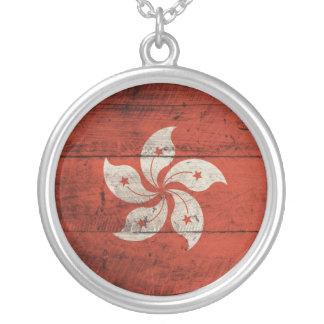 Old Wooden Hong Kong Flag Round Pendant Necklace