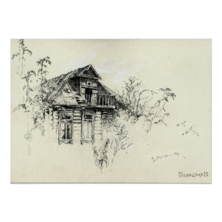 Old Wooden House in Russia Print