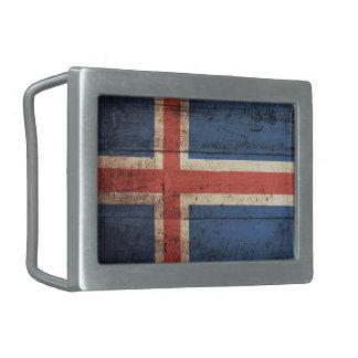 Old Wooden Iceland Flag Belt Buckle