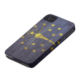 Old Wooden Indiana Flag; Case-Mate iPhone 4 Cases