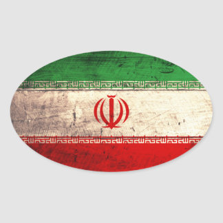 Old Wooden Iran Flag Oval Sticker