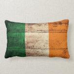 Old Wooden Ireland Flag Throw Pillow