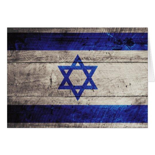 Old Wooden Israel Flag Card