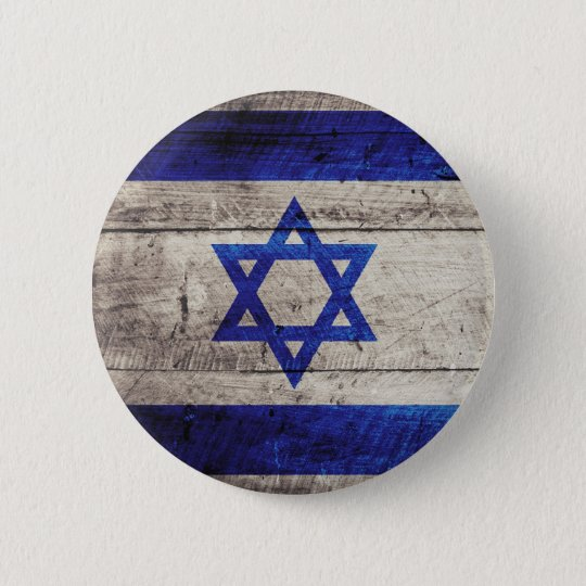 Old Wooden Israel Flag Pinback Button