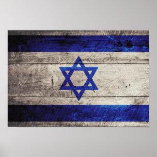 Old Wooden Israel Flag Poster