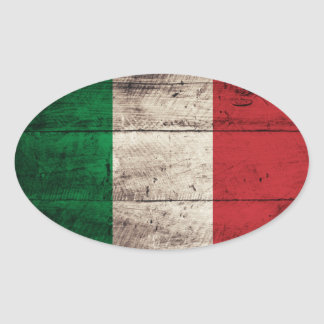 Old Wooden Italy Flag Oval Sticker