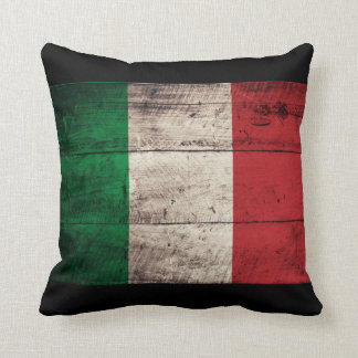 Old Wooden Italy Flag Throw Pillow