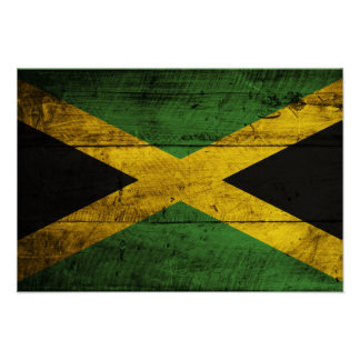 Old Wooden Jamaica Flag Poster
