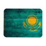 Old Wooden Kazakhstan Flag Rectangular Magnets