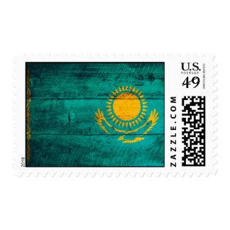 Old Wooden Kazakhstan Flag Stamps