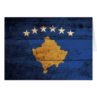 Old Wooden Kosovo Flag Greeting Card