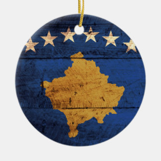 Old Wooden Kosovo Flag Ceramic Ornament