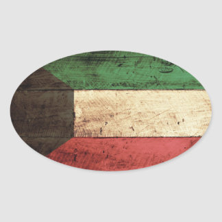 Old Wooden Kuwait Flag Oval Sticker