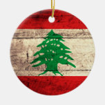 Old Wooden Labanon Flag Christmas Ornaments