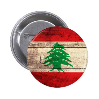 Old Wooden Labanon Flag Pinback Button