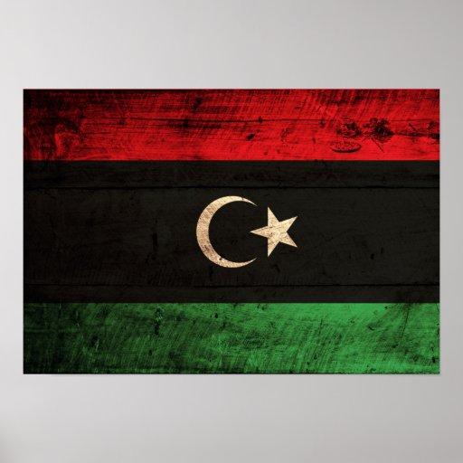 Old Wooden Libya Flag Print