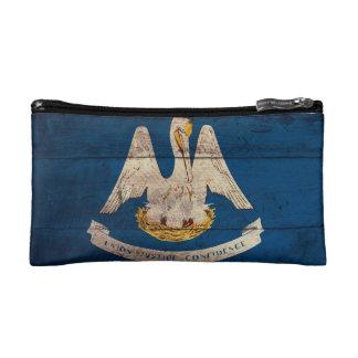 Old Wooden Louisiana Flag Makeup Bags