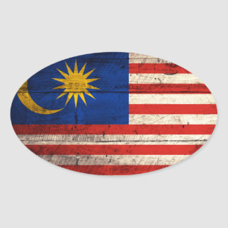 Old Wooden Malaysia Flag Oval Sticker