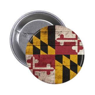 Old Wooden Maryland Flag 2 Inch Round Button