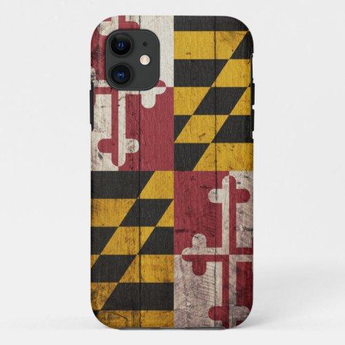 Old Wooden Maryland Flag Phone Case