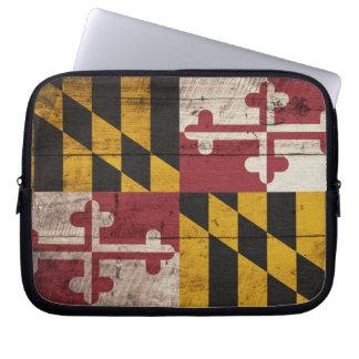 Old Wooden Maryland Flag Laptop Sleeve