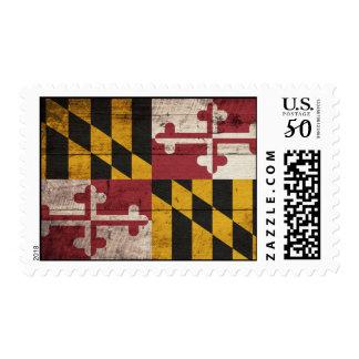 Old Wooden Maryland Flag Postage