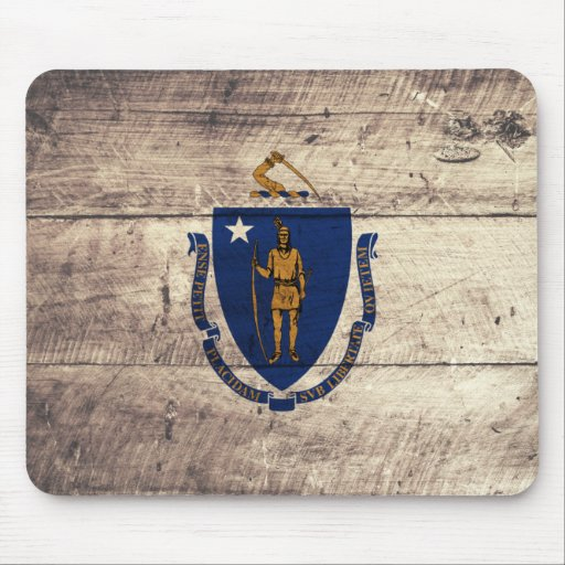 Old Wooden Massachusetts Flag; Mouse Pad