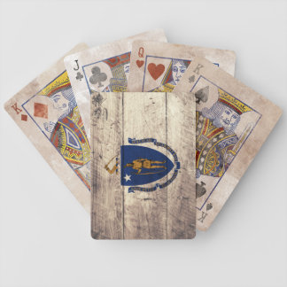 Old Wooden Massachusetts Flag Playing Cards